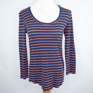 Madewell navy and red striped long sleeve sweater